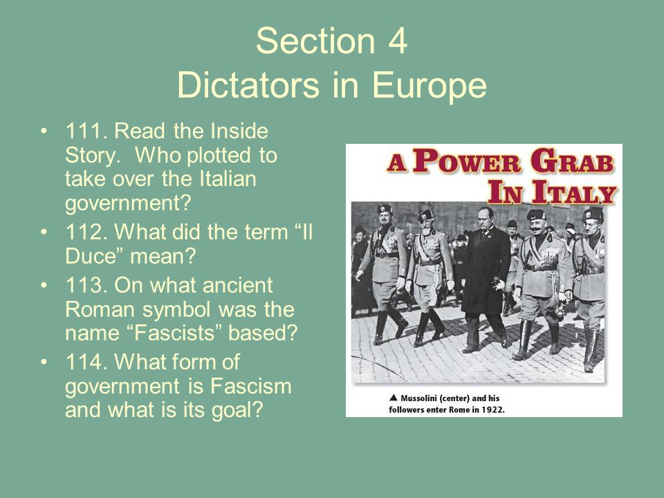 Section 4 Dictators in Europe