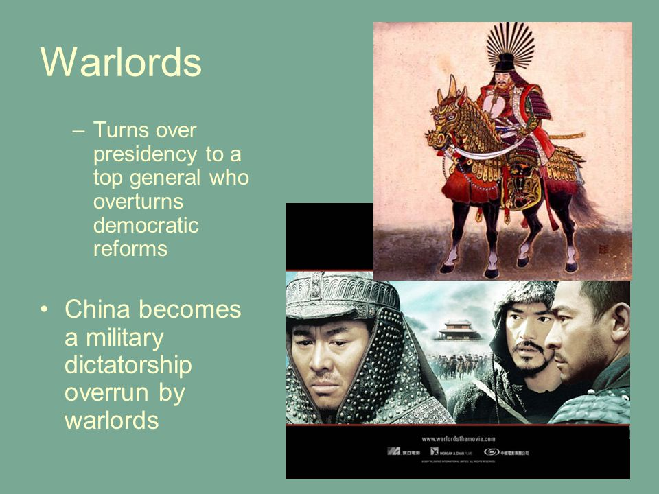Warlords China becomes a military dictatorship overrun by warlords
