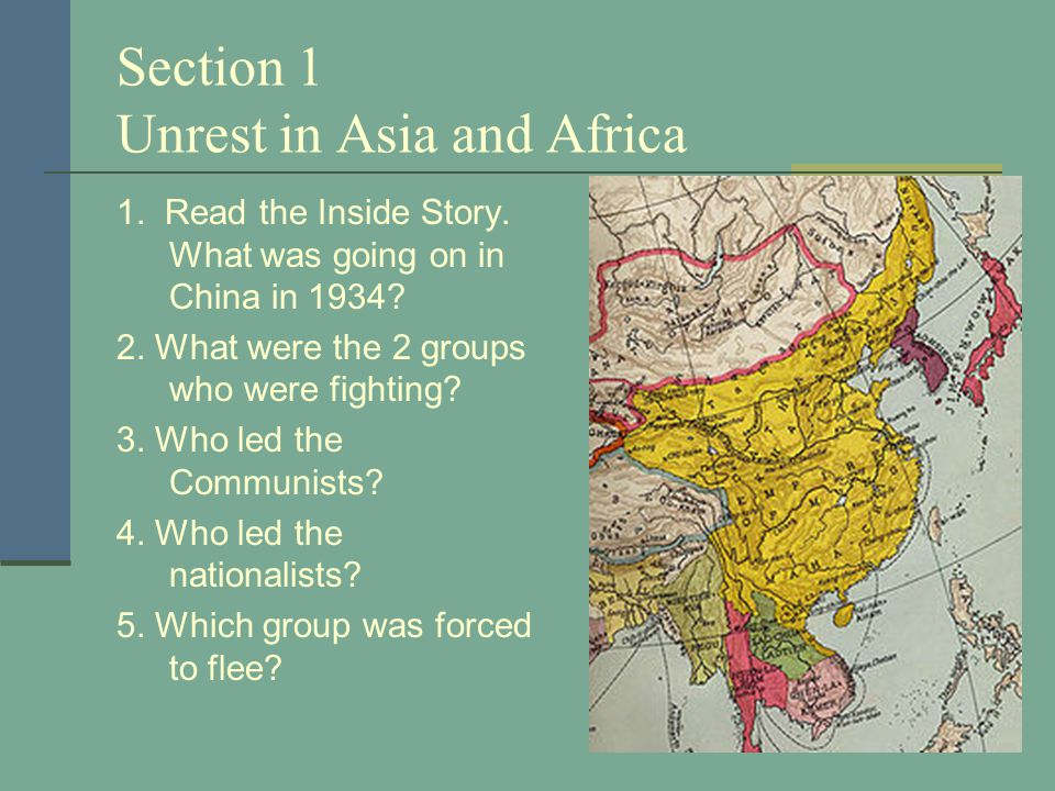 Section 1 Unrest in Asia and Africa