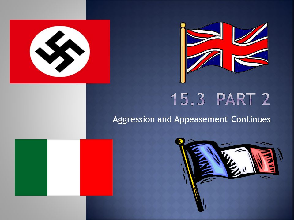 Aggression and Appeasement Continues