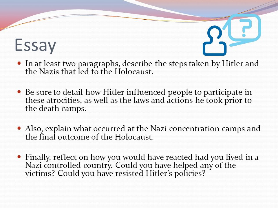essay about holocaust A list of good essay topics on the holocaust although it was one of the most horrific experiences in centuries, the holocaust remains a common topic in history classes.
