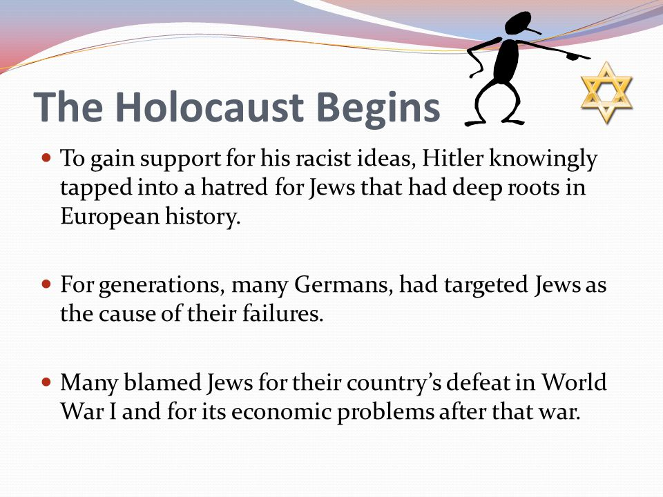 The Holocaust Begins To gain support for his racist ideas, Hitler knowingly tapped into a hatred for Jews that had deep roots in European history.