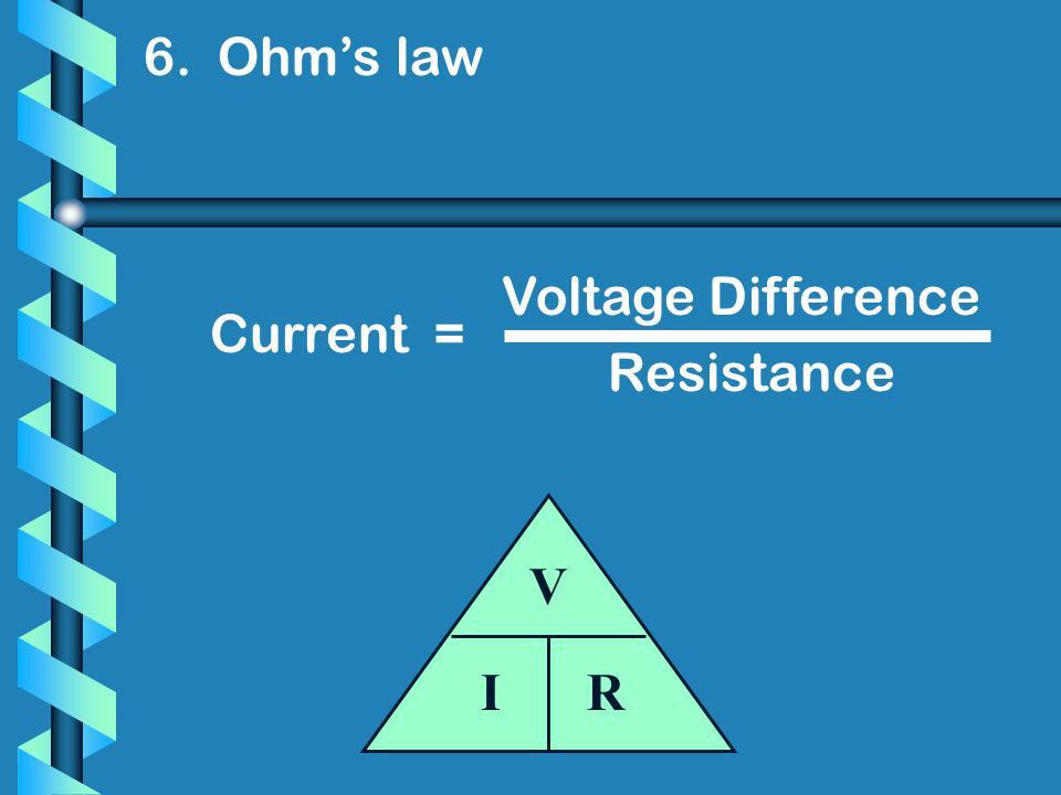 6. Ohm's law Voltage Difference Current = Resistance V I R