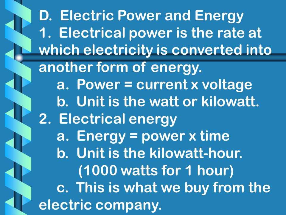 D. Electric Power and Energy