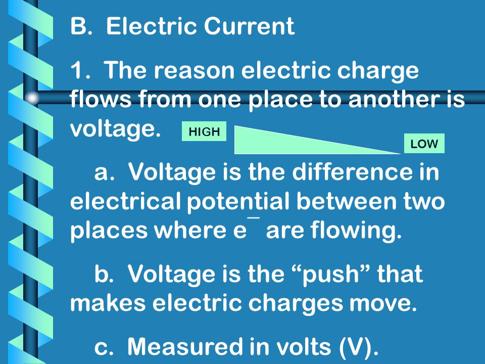 b. Voltage is the push that makes electric charges move.