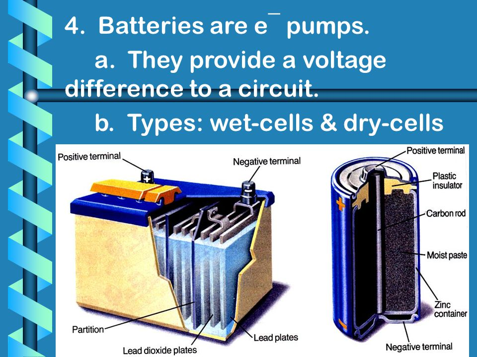 4. Batteries are e¯ pumps. a. They provide a voltage difference to a circuit.