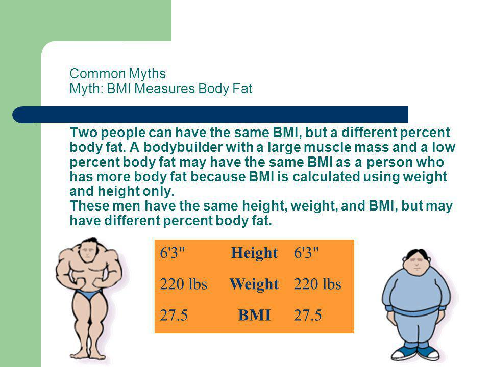 Common Myths Myth: BMI Measures Body Fat Two people can have the same BMI, but a different percent body fat. A bodybuilder with a large muscle mass and a low percent body fat may have the same BMI as a person who has more body fat because BMI is calculated using weight and height only. These men have the same height, weight, and BMI, but may have different percent body fat.