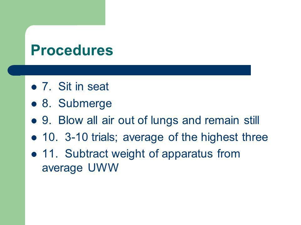 Procedures 7. Sit in seat 8. Submerge
