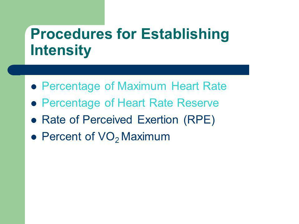 Procedures for Establishing Intensity