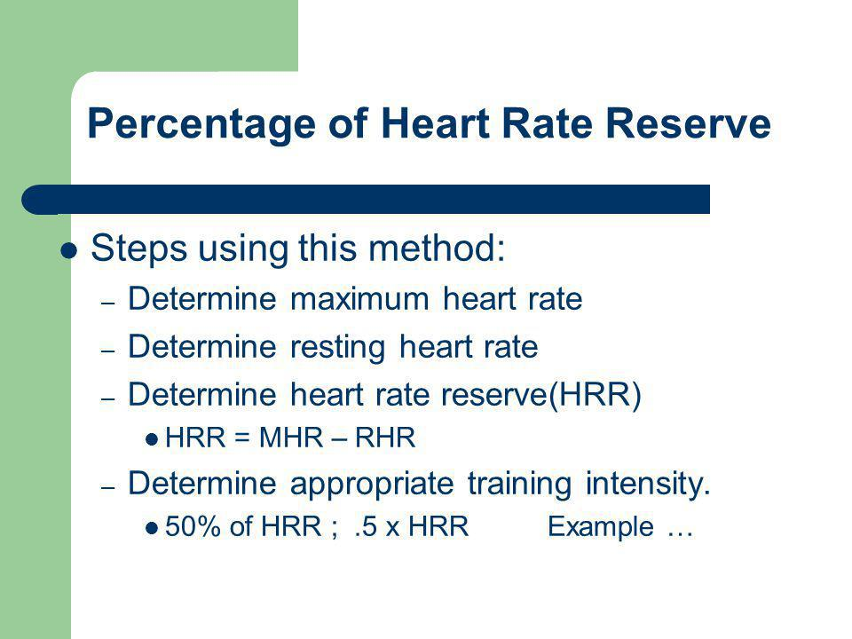 Percentage of Heart Rate Reserve