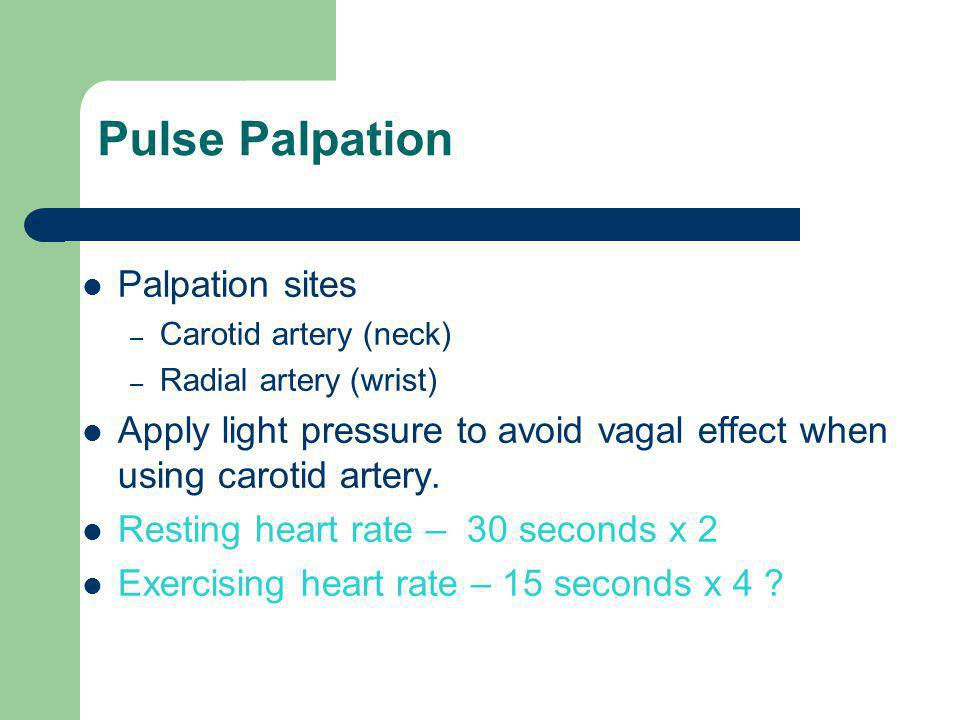 Pulse Palpation Palpation sites