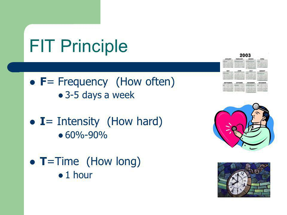 FIT Principle F= Frequency (How often) I= Intensity (How hard)