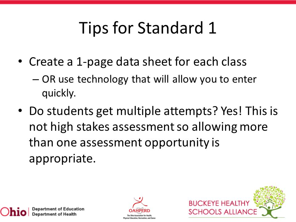 Tips for Standard 1 Create a 1-page data sheet for each class