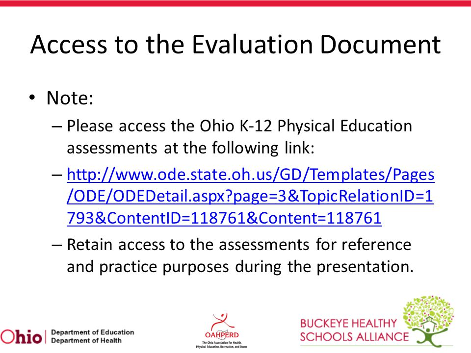 Access to the Evaluation Document
