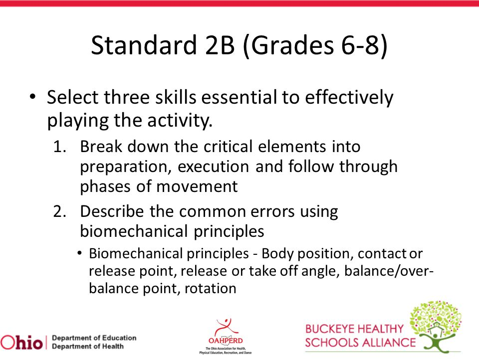 Standard 2B (Grades 6-8) Select three skills essential to effectively playing the activity.