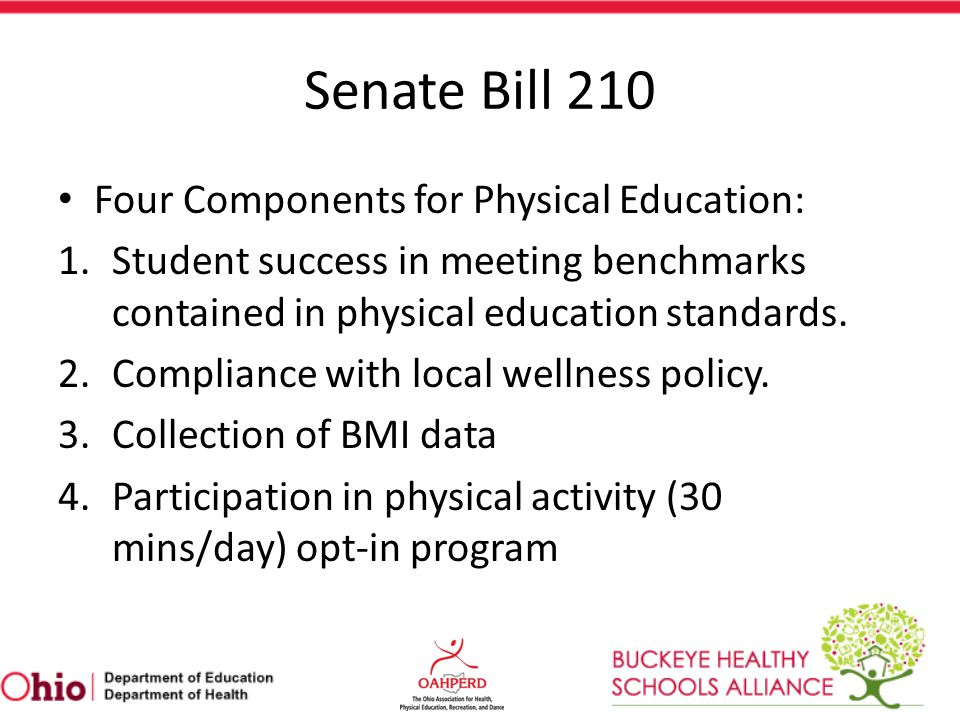Senate Bill 210 Four Components for Physical Education: