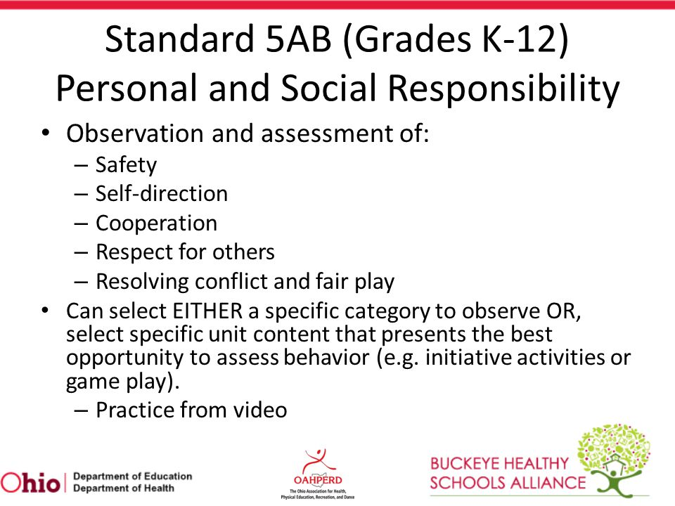 Standard 5AB (Grades K-12) Personal and Social Responsibility