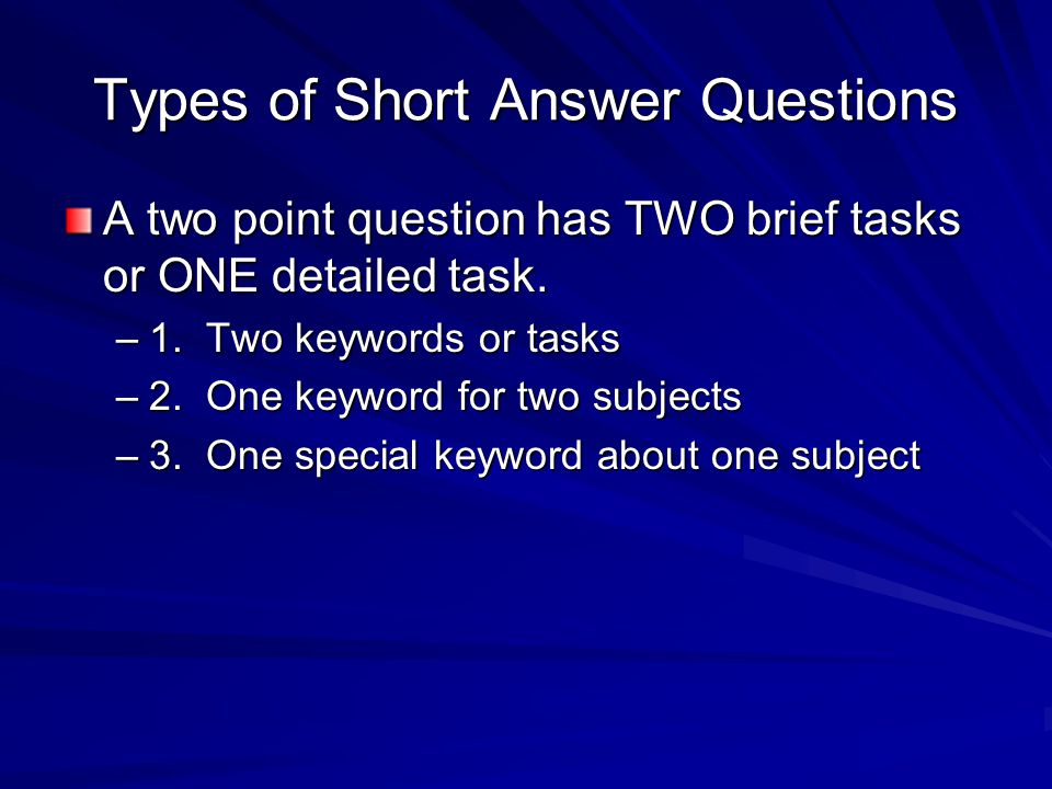 Types of Short Answer Questions