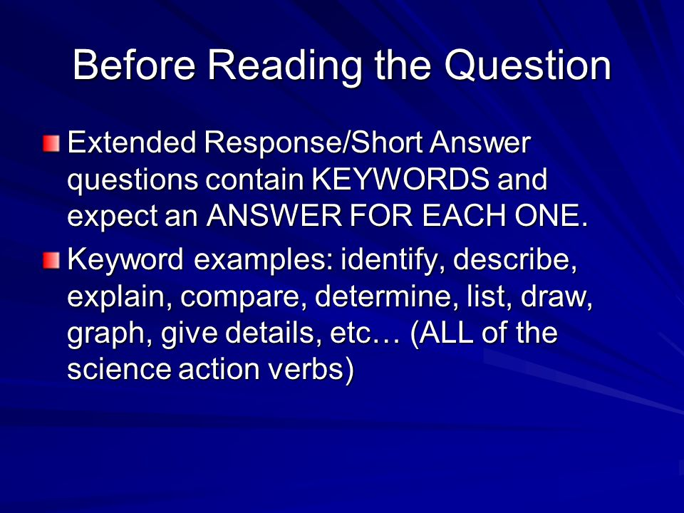 Before Reading the Question