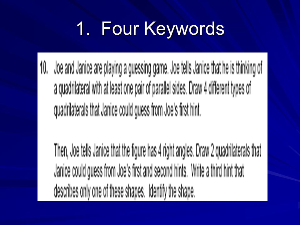 1. Four Keywords