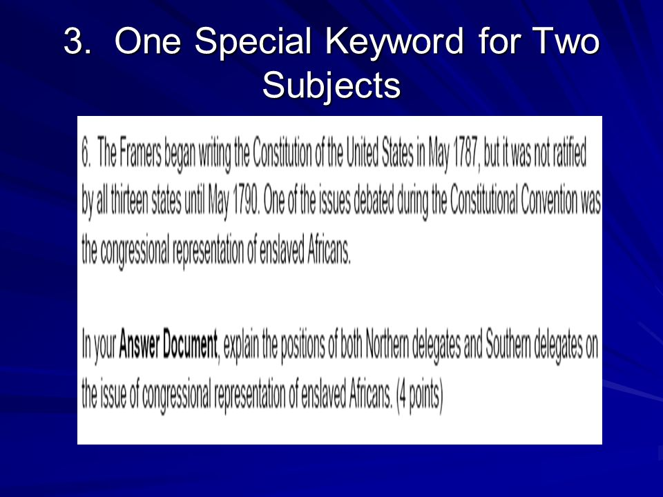 3. One Special Keyword for Two Subjects