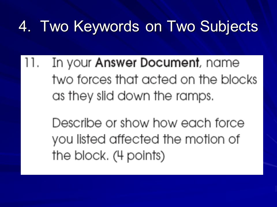 4. Two Keywords on Two Subjects