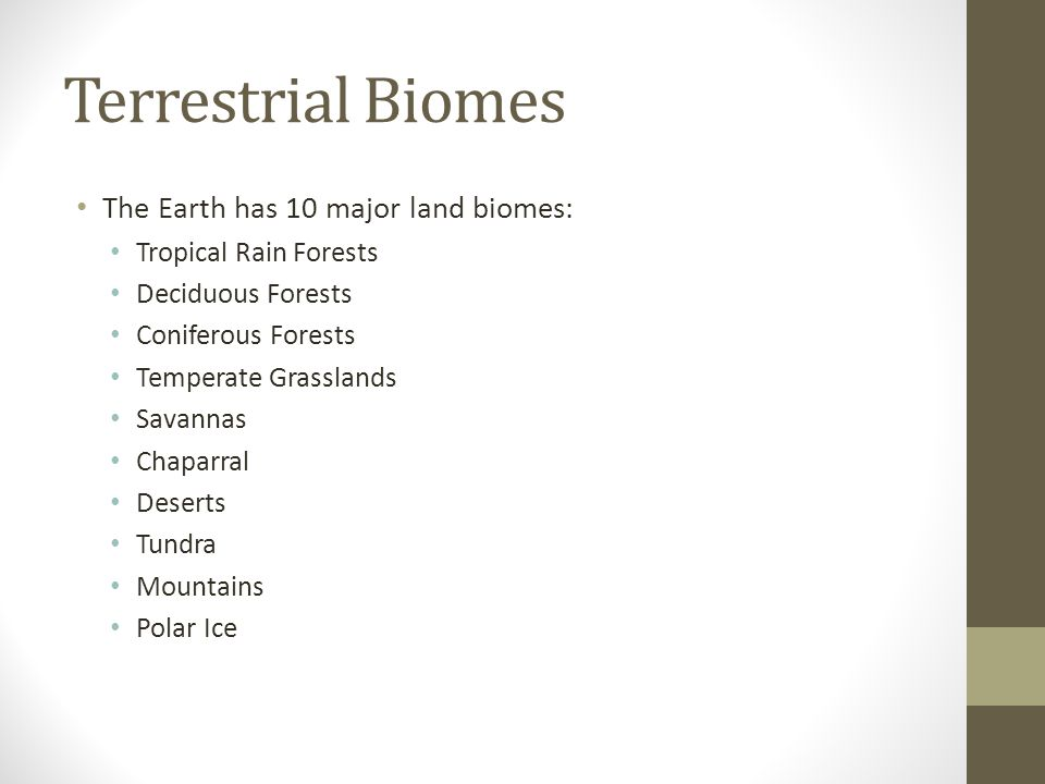 Terrestrial Biomes The Earth has 10 major land biomes:
