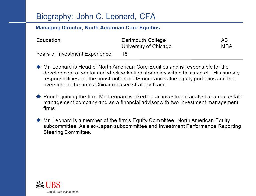 Biography: John C. Leonard, CFA