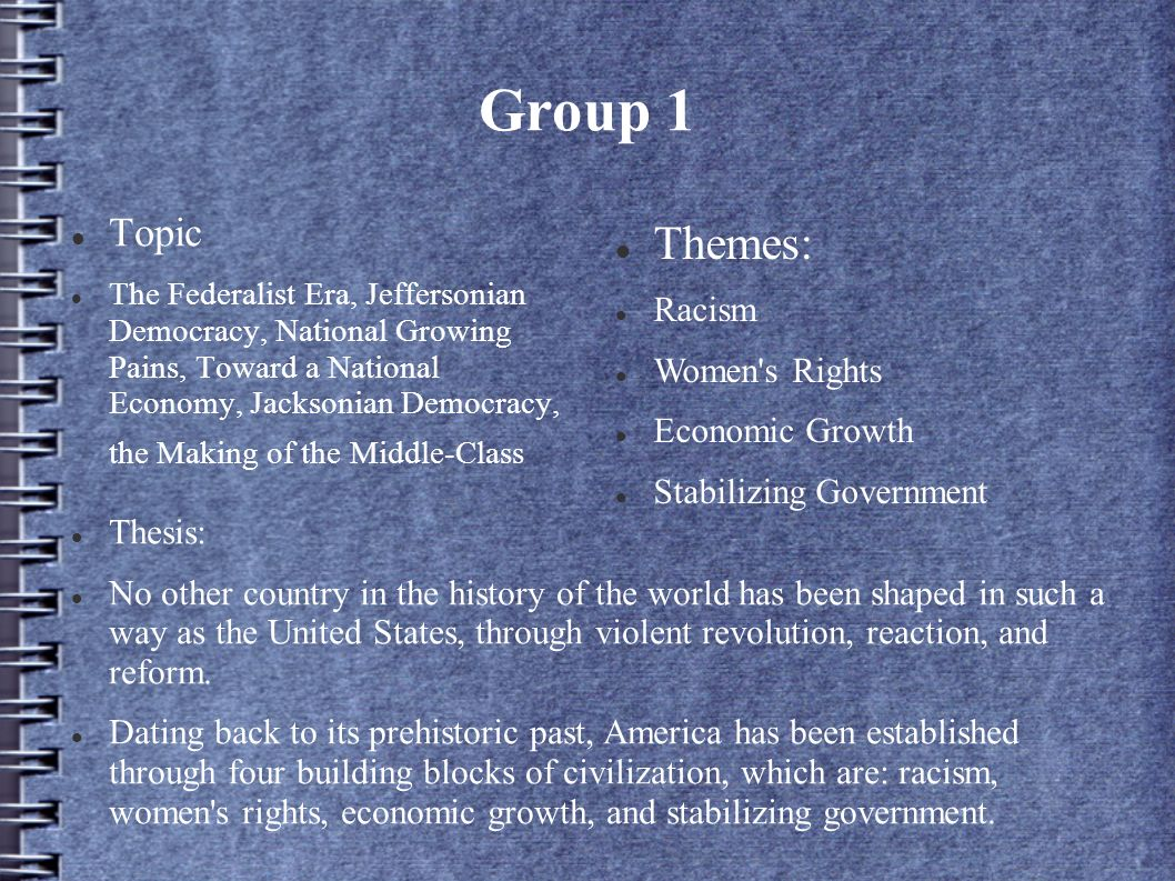 Group 1 Themes: Topic Racism Women s Rights Economic Growth