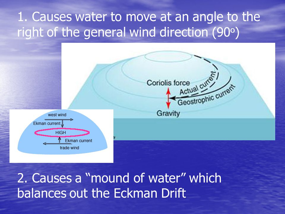 1. Causes water to move at an angle to the right of the general wind direction (90o)