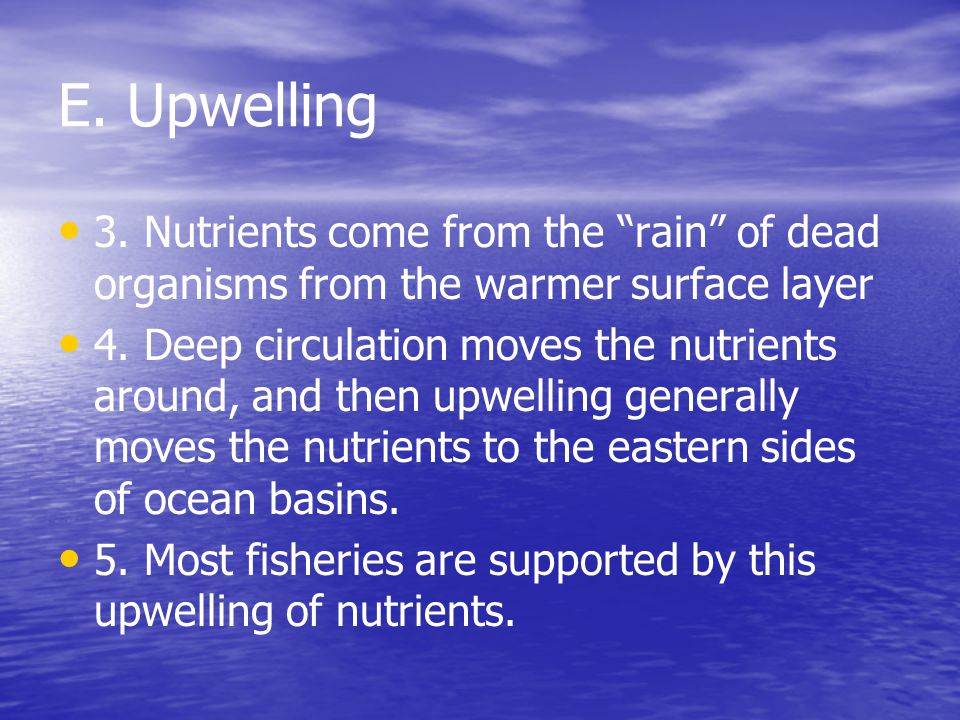 E. Upwelling 3. Nutrients come from the rain of dead organisms from the warmer surface layer.