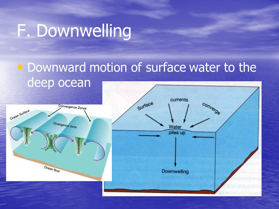 F. Downwelling Downward motion of surface water to the deep ocean