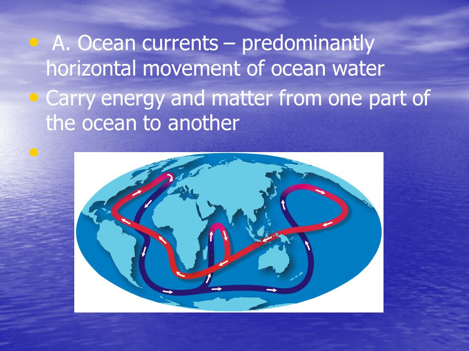 A. Ocean currents – predominantly horizontal movement of ocean water