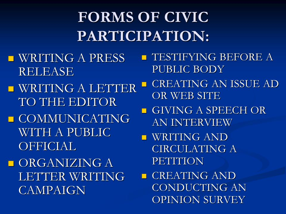 FORMS OF CIVIC PARTICIPATION: