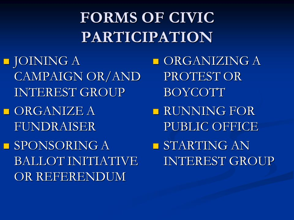 FORMS OF CIVIC PARTICIPATION