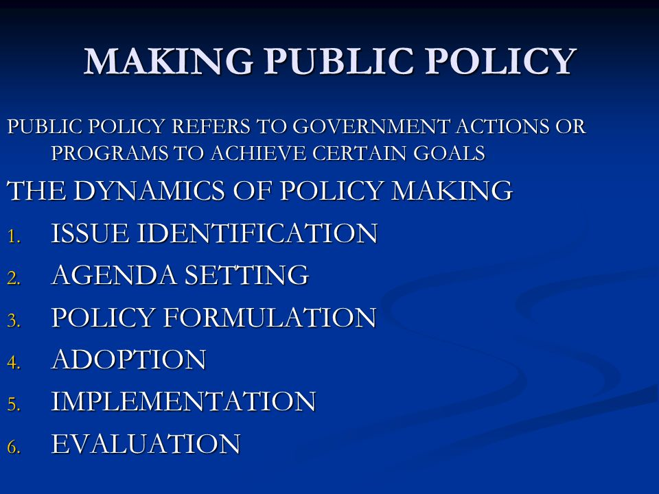 MAKING PUBLIC POLICY THE DYNAMICS OF POLICY MAKING