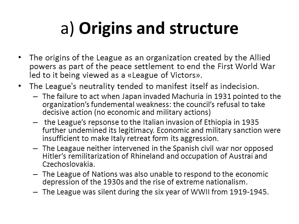 a) Origins and structure