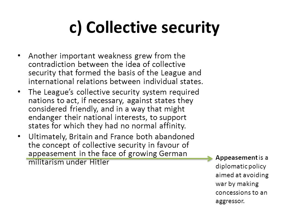 c) Collective security
