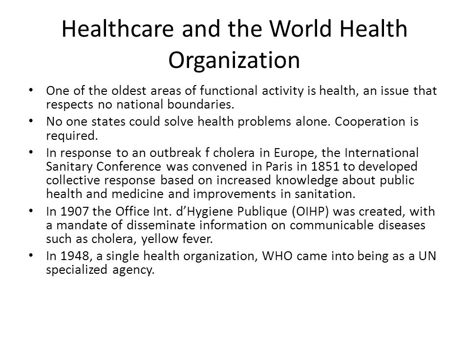Healthcare and the World Health Organization