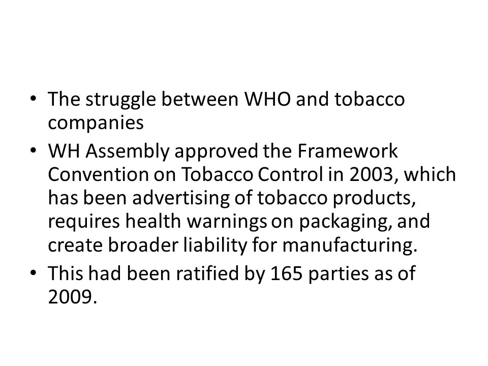 The struggle between WHO and tobacco companies