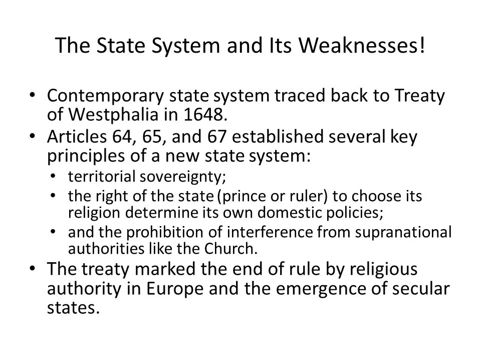 The State System and Its Weaknesses!