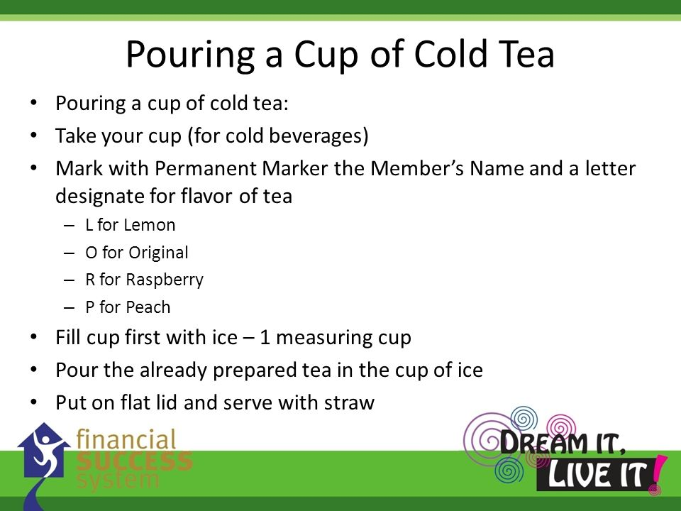Pouring a Cup of Cold Tea