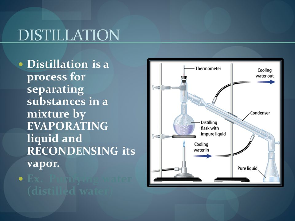 DISTILLATION Distillation is a process for separating substances in a mixture by EVAPORATING liquid and RECONDENSING its vapor.