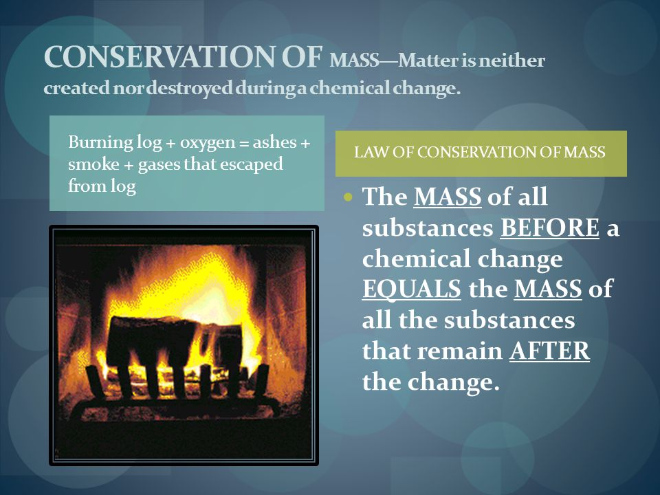 CONSERVATION OF MASS—Matter is neither created nor destroyed during a chemical change.
