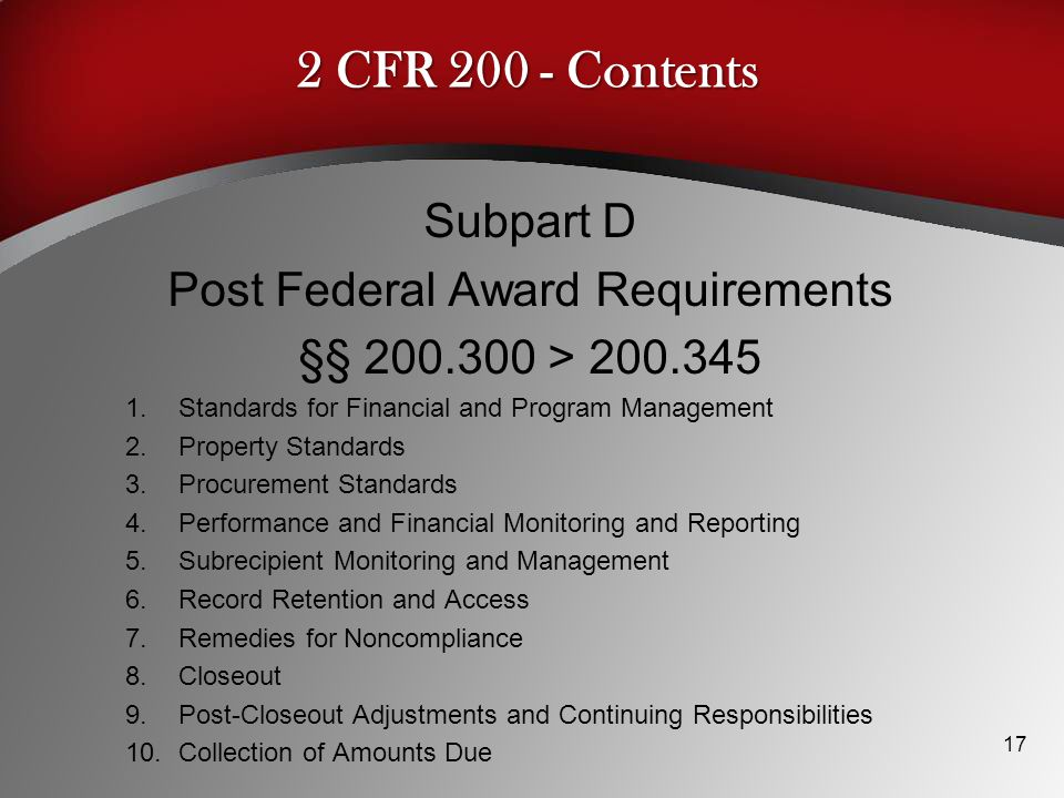 Post Federal Award Requirements