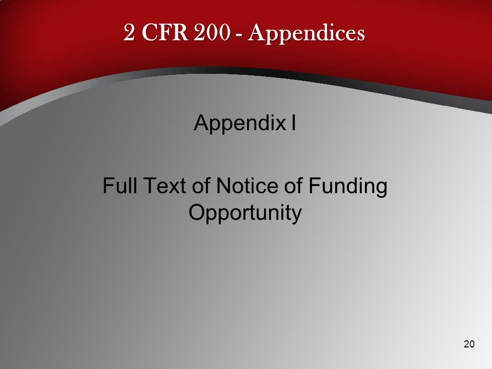 Appendix I Full Text of Notice of Funding Opportunity