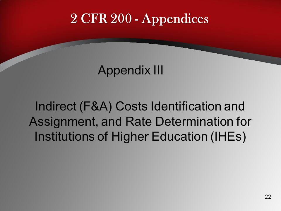 2 CFR 200 - Appendices