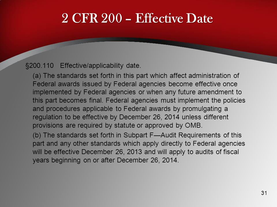 2 CFR 200 – Effective Date