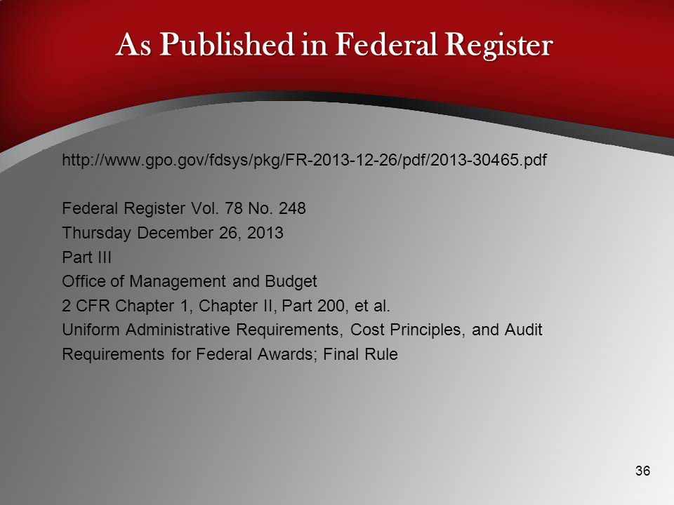 As Published in Federal Register