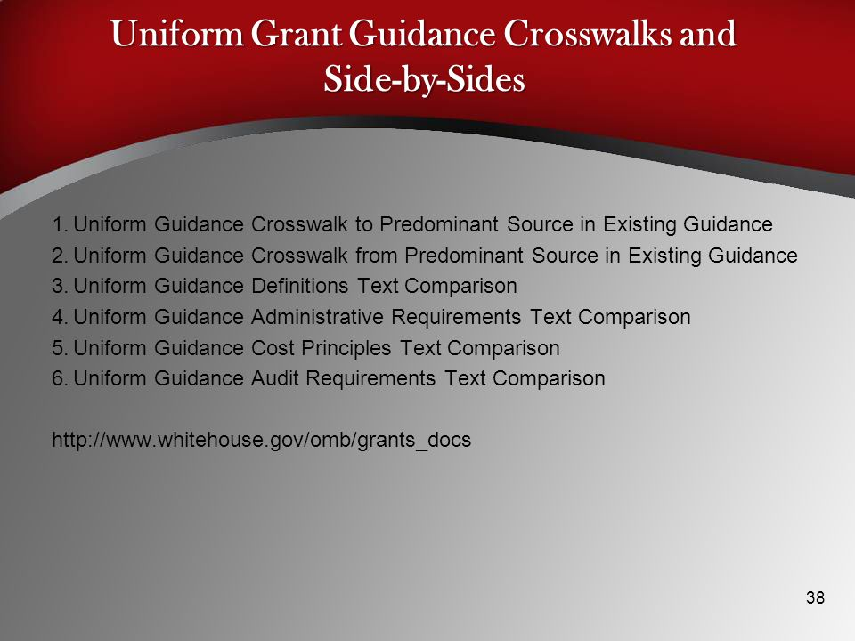 Uniform Grant Guidance Crosswalks and Side-by-Sides